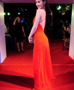 Váy dạ hội đỏ hở lưng khoét ngực sâu sexy tôn dáng - D364