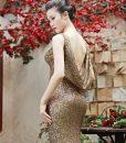 Đầm dạ hội kim sa cổ đỗ xẻ đùi cao tôn dáng – D365