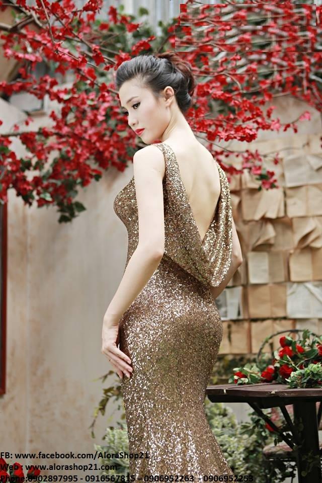 Đầm dạ hội kim sa cổ đỗ xẻ đùi cao tôn dáng - D365