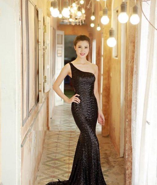 Đầm dạ hội kim sa lệch vai hở lưng sexy ôm body tôn dáng – D366