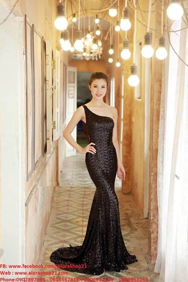 Đầm dạ hội kim sa lệch vai hở lưng sexy ôm body tôn dáng - D366