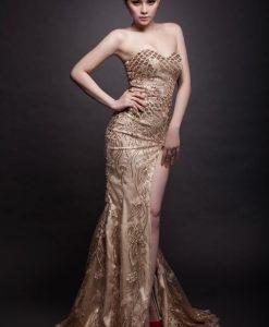 Đầm dạ hội cúp ngực phối ren xẻ đùi sang trọng - D367