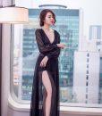 Đầm dạ hội tay dài xẻ đùi cao phối voan sexy quyến rũ - D369