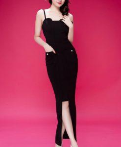 Đầm dạ hội thiết kế hai dây phối túi như Ngọc Trinh - D370