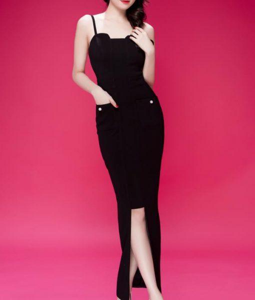 Đầm dạ hội thiết kế hai dây phối túi như Ngọc Trinh – D370