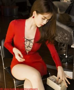 Đầm body dự tiệc tay dài đan dây như Ngọc Trinh - DN247