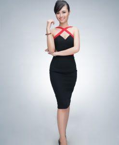 Váy ôm đắp chéo cúp ngực đen viền đỏ ôm body tôn dáng - DN250