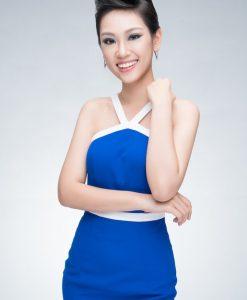 Đầm body xanh viền trắng cổ yếm xinh xắn dễ thương - DN252
