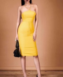 Đầm body cúp ngực dây chéo sành điệu màu vàng sang trọng - DN254