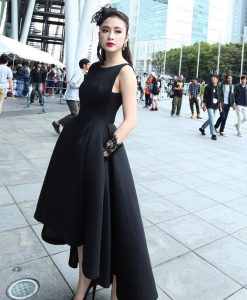 Đầm xòe đen dài cách điệu tinh tế dễ thương như Phương Trinh - DN255