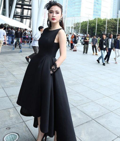 Đầm xòe đen dài cách điệu tinh tế dễ thương như Phương Trinh – DN255