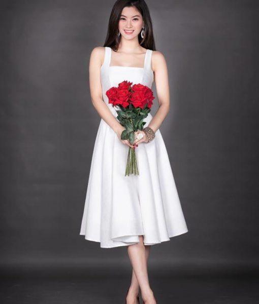 Đầm xòe trắng dự tiệc 2 dây cổ U dễ thương – DN256