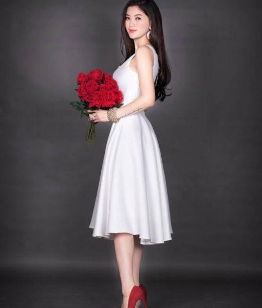 Đầm xòe trắng dự tiệc 2 dây cổ U dễ thương - DN256