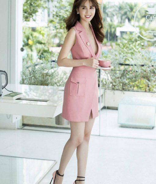 Đầm suông Ngọc Trinh kiểu vest thiết kế đơn giản trẻ trung - DN257