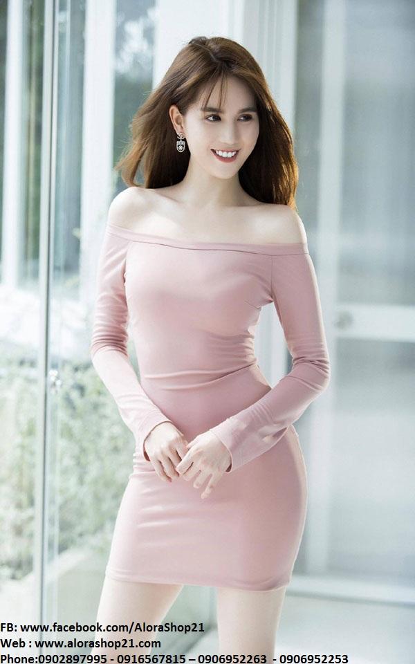 Đầm ôm body Ngọc Trinh thiết kế vai ngang tay dài trẻ trung - DN258