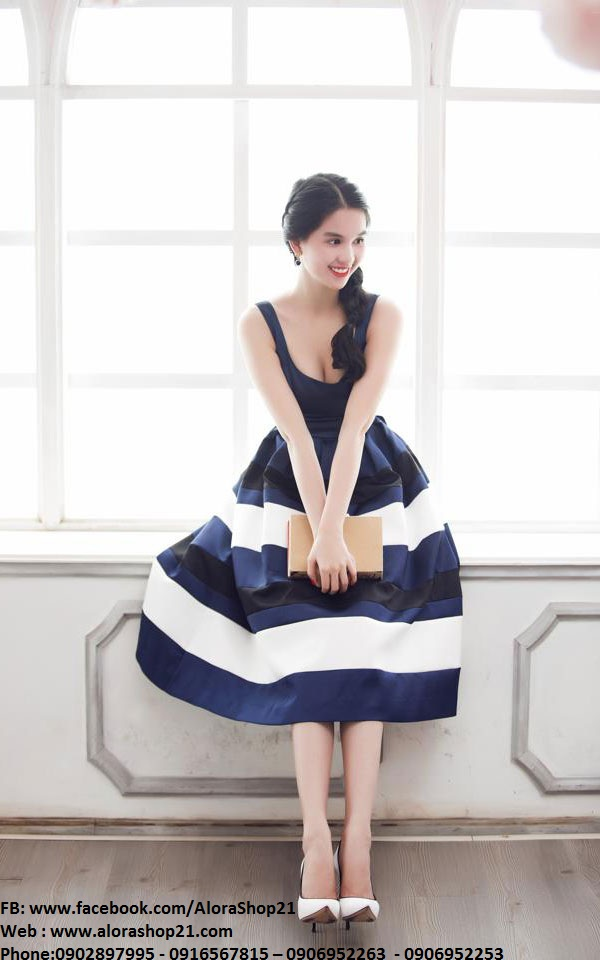 Đầm tùng xòe Ngọc Trinh phối màu xinh xắn dễ thương - DN259