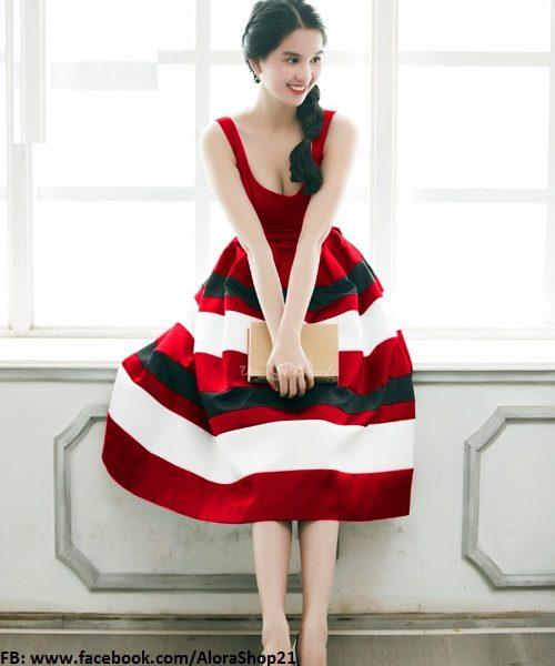 Đầm tùng xòe Ngọc Trinh phối màu xinh xắn dễ thương – DN259