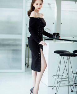 Đầm ôm hở lưng xẻ tà màu đen quyến rũ như Ngọc Trinh - DN260