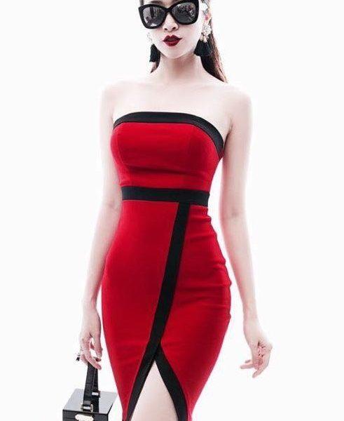 Đầm ống ôm body màu đỏ thiết kế viền đen xẻ tà đẹp – DN264