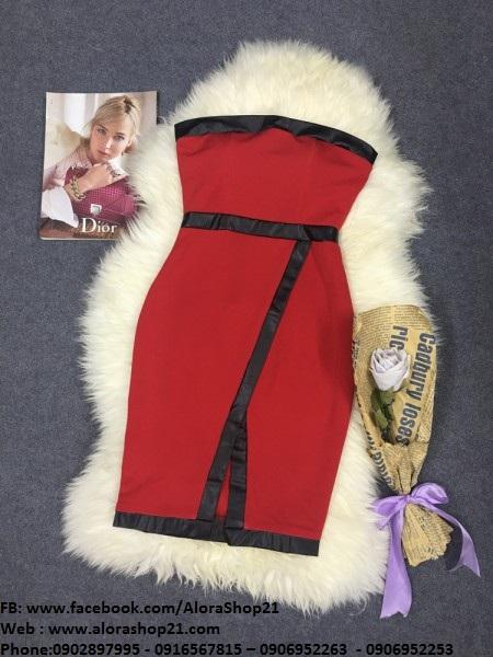 Đầm ống ôm body màu đỏ thiết kế viền đen xẻ tà đẹp - DN264