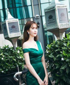 Đầm body lệch vai phi bóng sang trọng quyến rũ như Ngọc Trinh - DN265