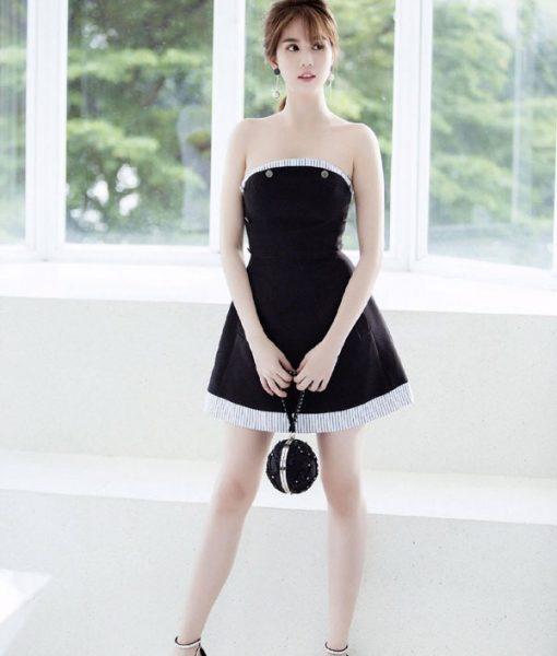 Đầm xòe Ngọc Trinh thiết kế cúp ngực kết nút – DN266