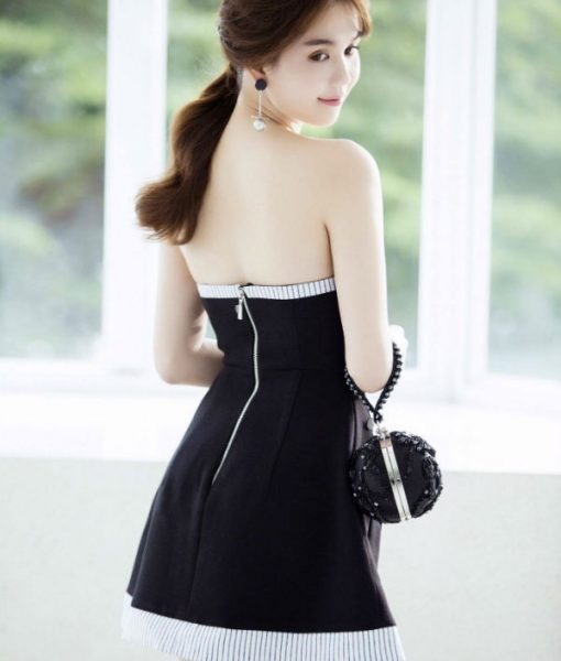 Đầm xòe Ngọc Trinh thiết kế cúp ngực kết nút - DN266