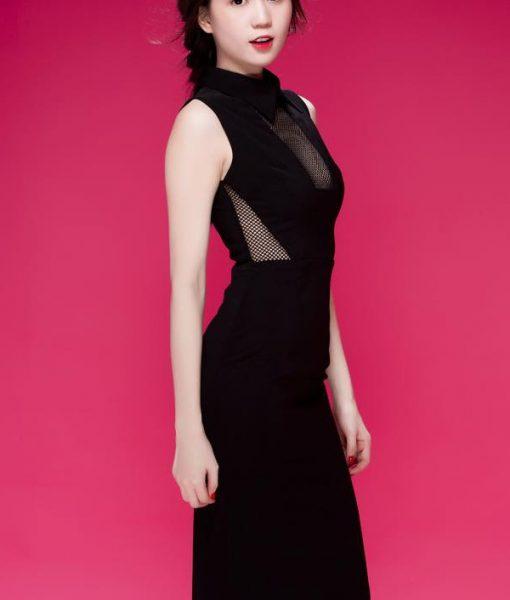 Đầm ôm body đen phối lưới sexy quyến rũ như Ngọc Trinh – DN268