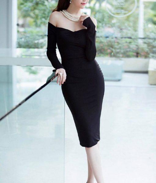 Đầm body dài tay bẹt vai nhún ngực Ngọc Trinh – DN269