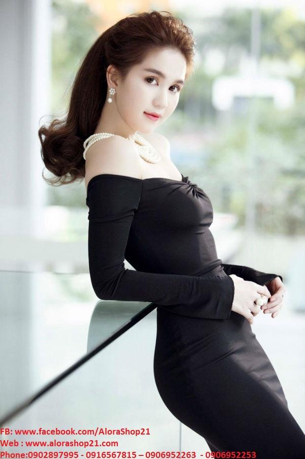 Đầm body dài tay bẹt vai nhún ngực Ngọc Trinh - DN269