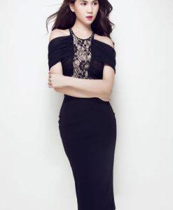 Đầm đen dự tiệc sang trọng thiết kế rớt vai của Ngọc Trinh - DN270