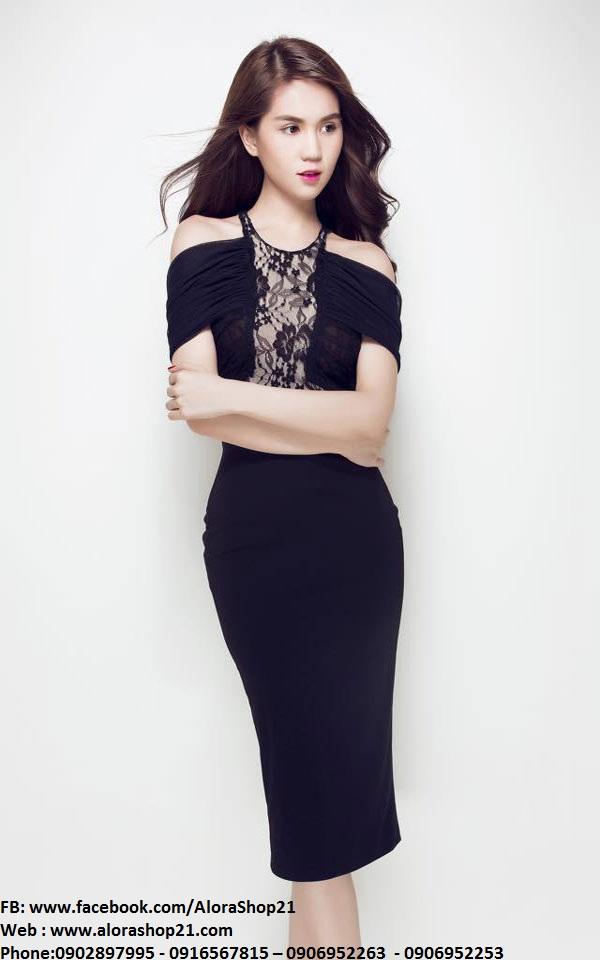 Đầm dự tiệc đen sang trọng thiết kế rớt vai của Ngọc Trinh - DN270