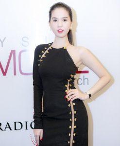 Váy ôm đen Ngọc Trinh đan dây cách điệu sexy quyến rũ - DN271