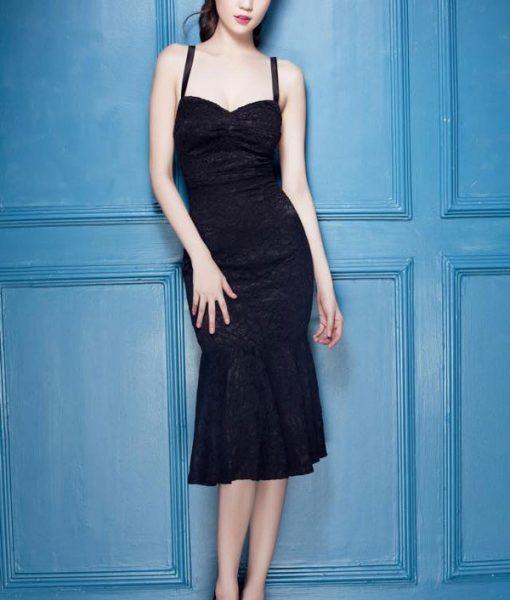 Đầm ren đen đuôi cá thiết kế 2 dây cúp ngực như Ngọc Trinh – DN275
