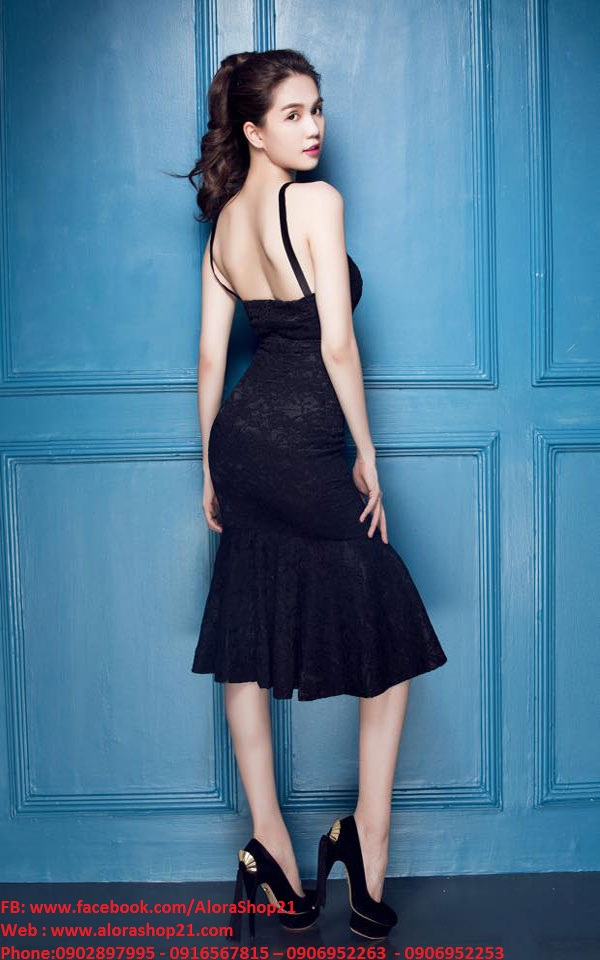 Đầm ren đen đuôi cá thiết kế 2 dây cúp ngực như Ngọc Trinh - DN275