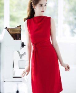 Đầm đỏ Ngọc Trinh thiết kế dáng chữ A dài tuyệt đẹp - DN278