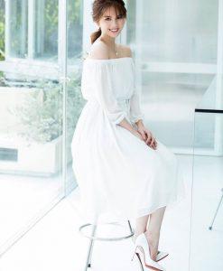 Đầm xòe trắng bẹt vai sang trọng đẳng cấp như Ngọc Trinh - DN279