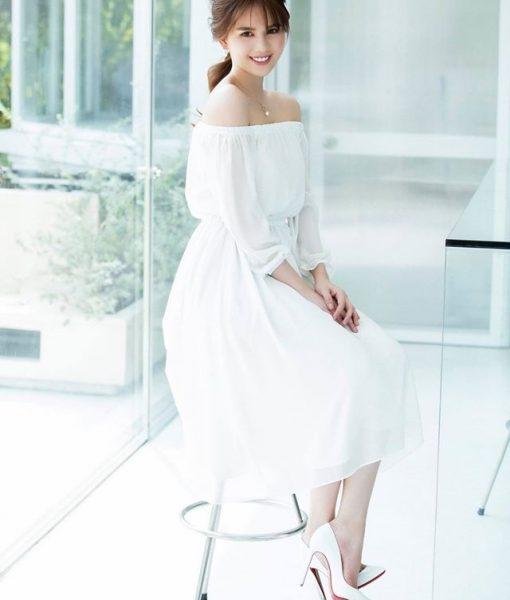 Đầm xòe trắng bẹt vai sang trọng đẳng cấp như Ngọc Trinh – DN279