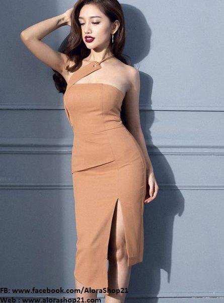 Đầm xẻ tà ôm body thiết kế cúp ngực lệch vai tuyệt đẹp – DN281