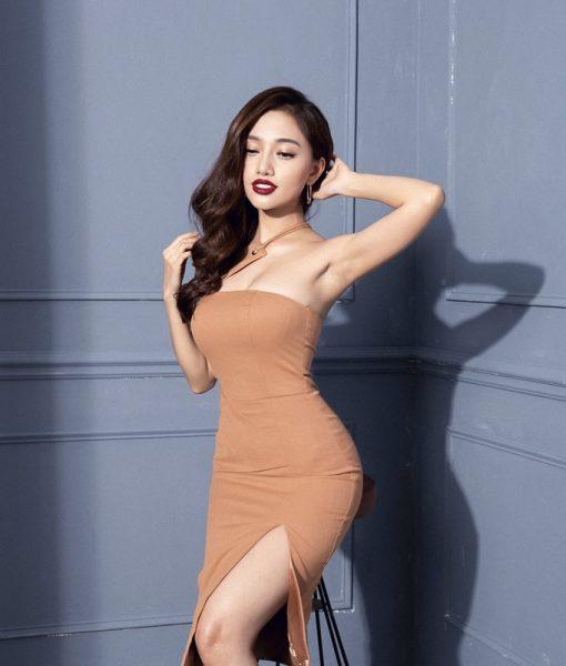 Đầm xẻ tà ôm body thiết kế cúp ngực lệch vai tuyệt đẹp - DN281