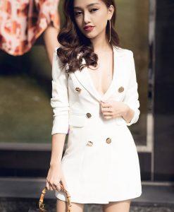 Đầm vest nữ trắng thiết kế ngực sâu tay lỡ sexy - DN287