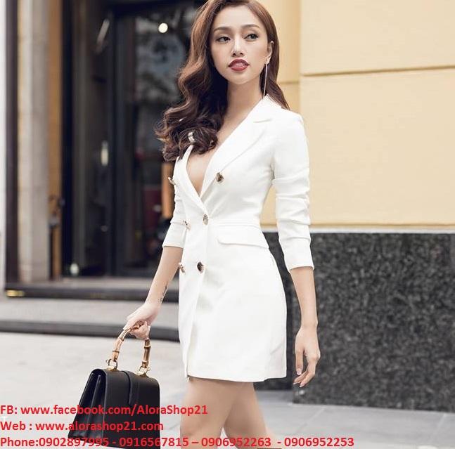 Đầm vest nữ trắng thiết kế ngực sâu tay lỡ sexy - DN287Đầm vest nữ trắng thiết kế ngực sâu tay lỡ sexy - DN287