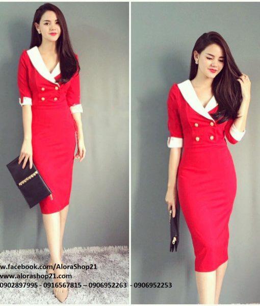 Váy ôm công sở đủ màu cổ cách điệu giả vest – DN402
