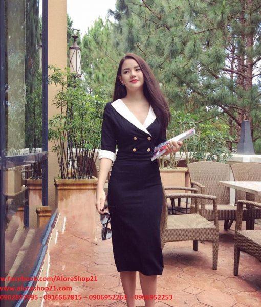 Váy ôm công sở đủ màu cổ cách điệu giả vest - DN402