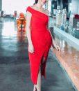 Đầm body lệch vai xẻ đùi tôn dáng như Hoàng Oanh - DN403