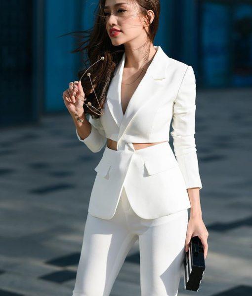 Bộ áo vest khoét eo và quần dài ống đứng tuyệt đẹp – J73