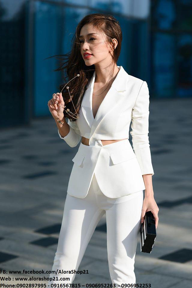 Bộ áo vest khoét eo và quần dài ống đứng tuyệt đẹp - J73