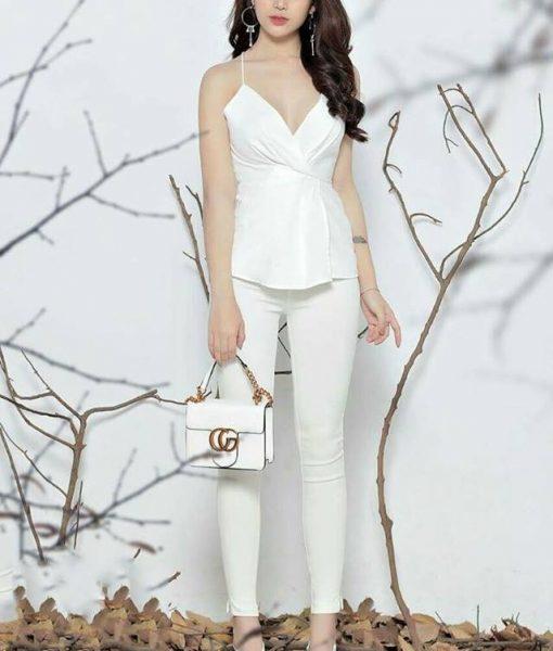 Set rời áo quần thiết kế áo 2 dây quần ôm dài trắng – J75