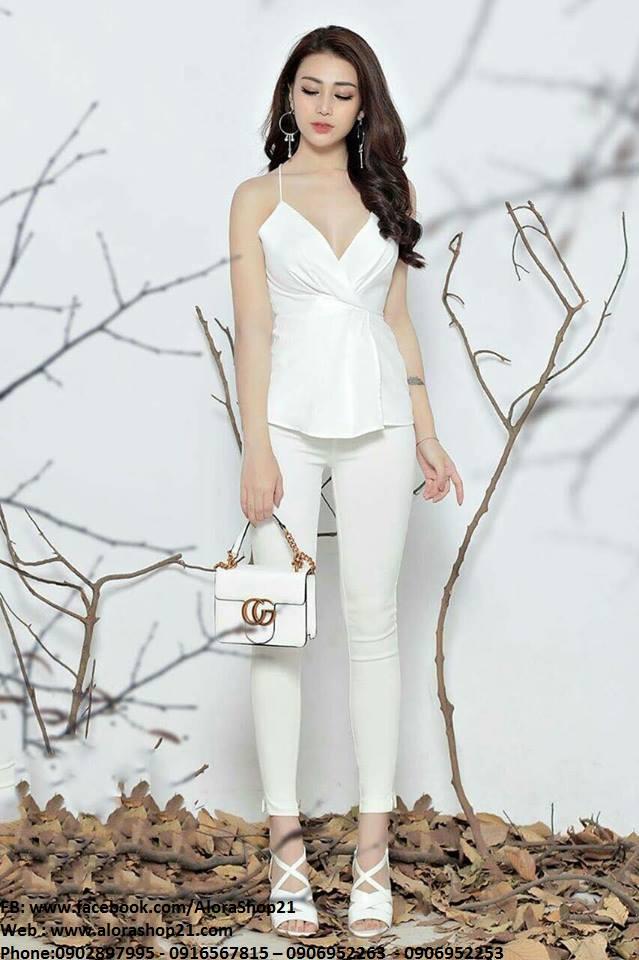 Set rời áo quần thiết kế áo 2 dây quần ôm dài trắng - J75