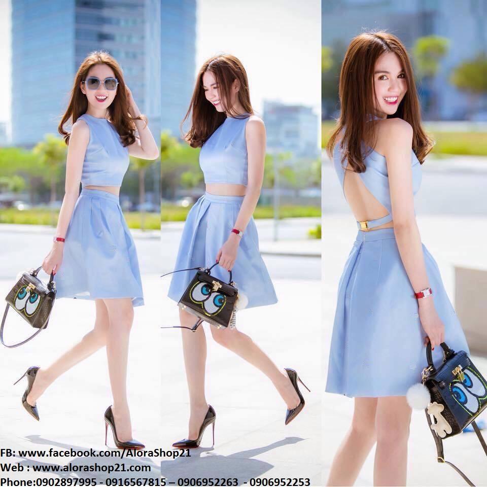 Set áo crop top hở lưng và chân váy xinh xắn như Ngọc Trinh - JN40
